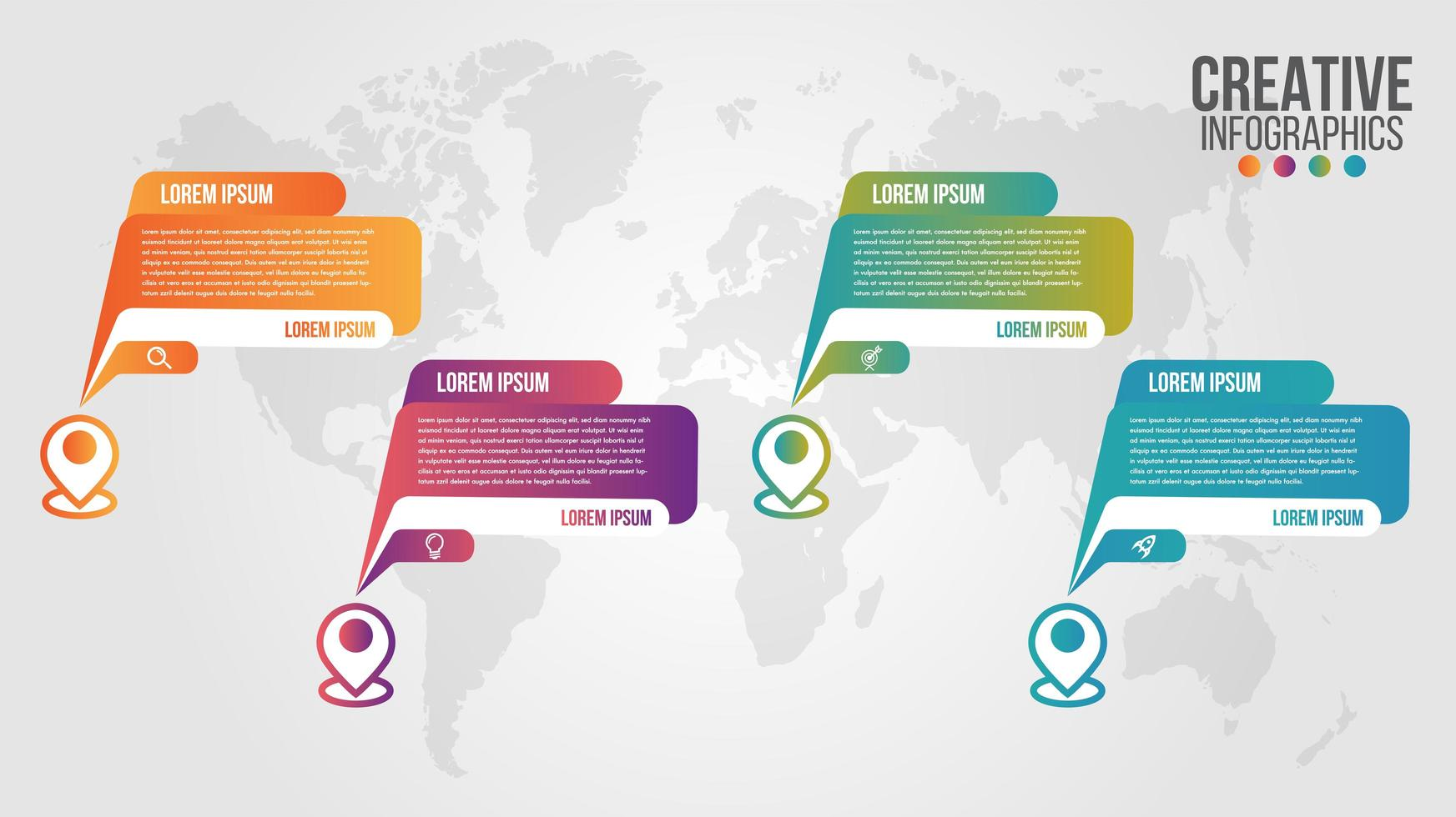Four options timeline process template vector