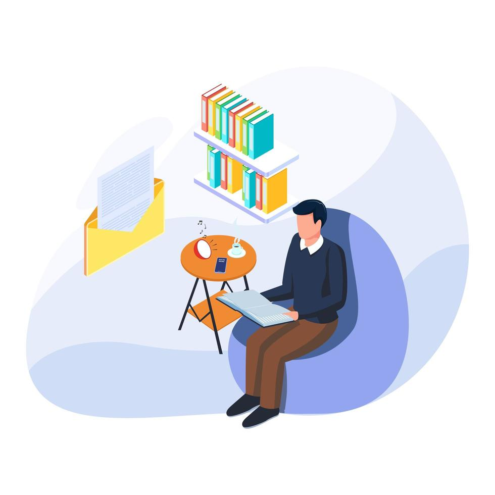 Man enjoy breaking time of his work with reading book, listen music, drink glass of coffee. vector