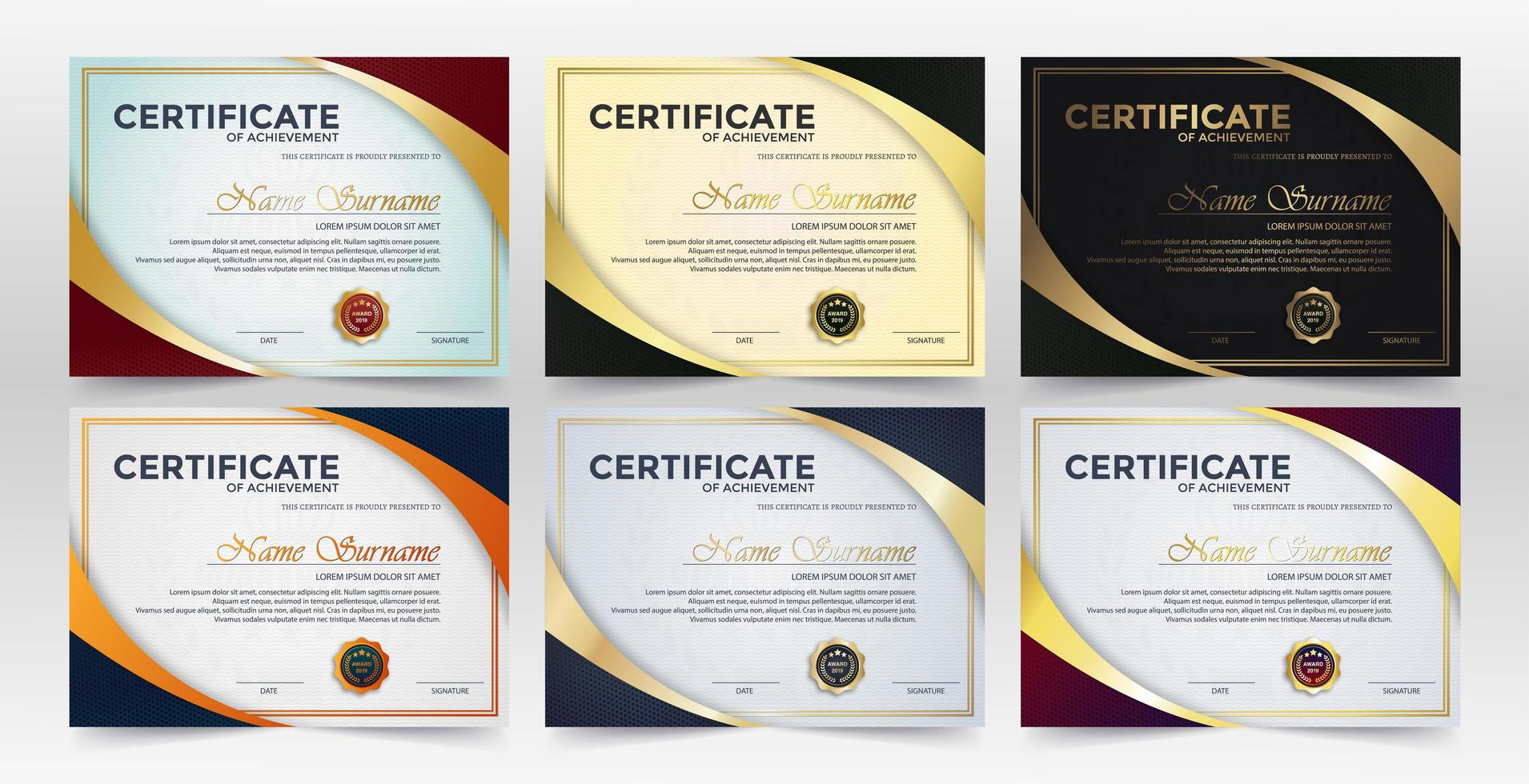 certificado de logro mejor premio diploma conjunto vector