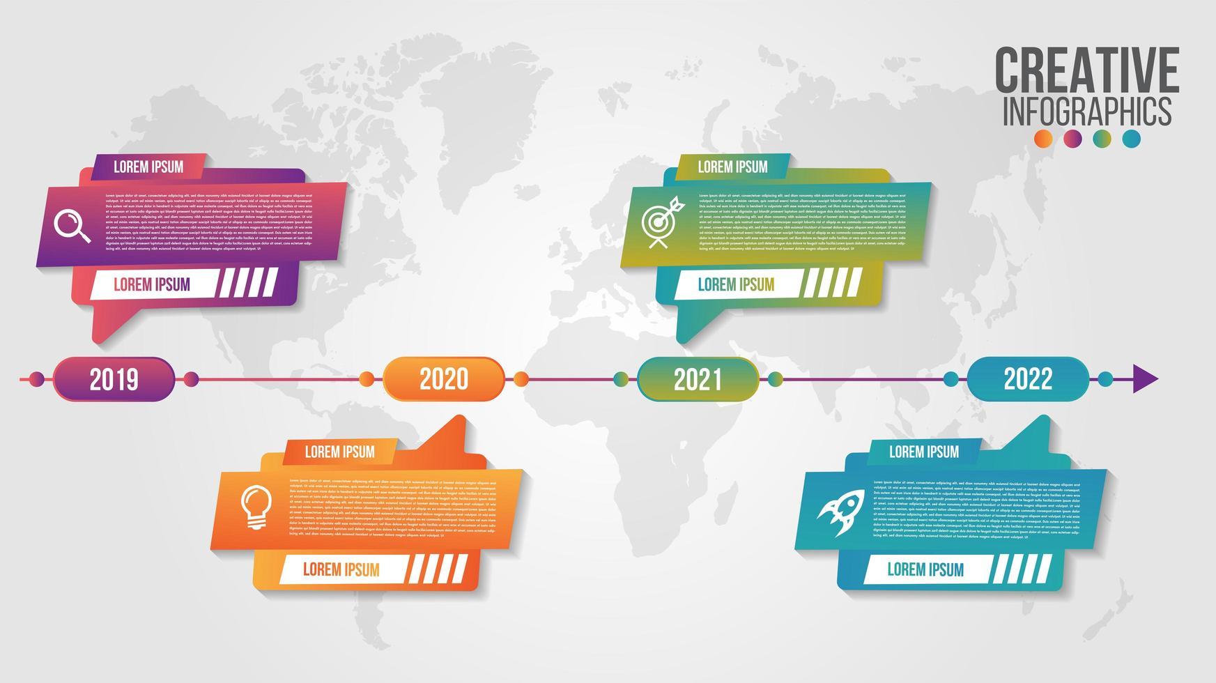 Negocio de diseño de línea de tiempo moderno de infografía con 4 pasos vector