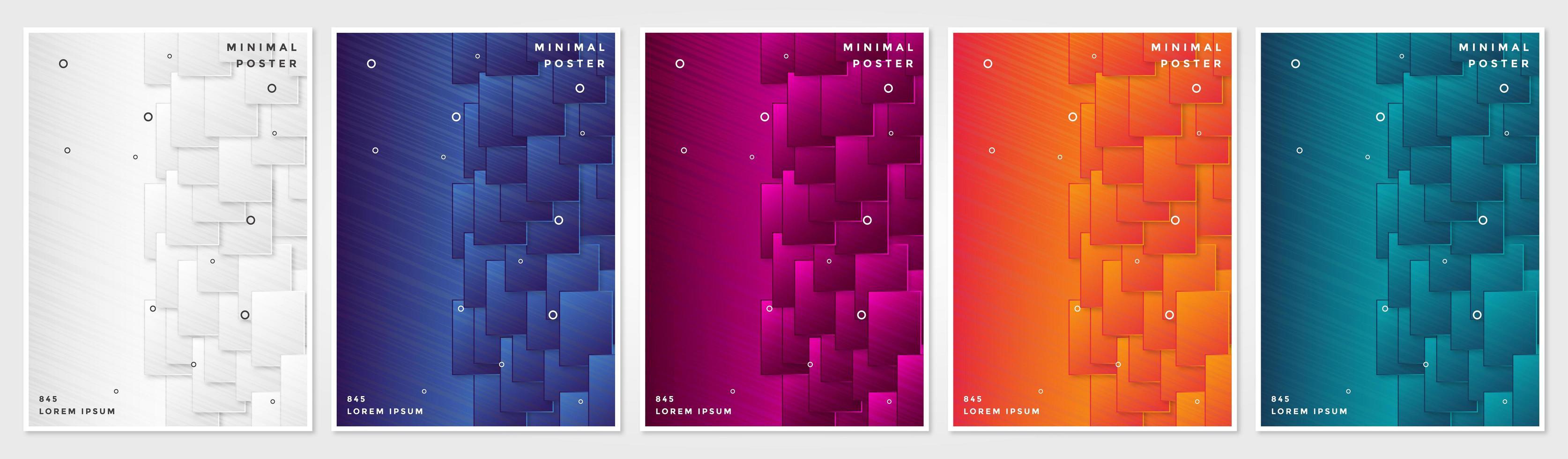 conjunto de portadas de fondos geométricos abstractos vector