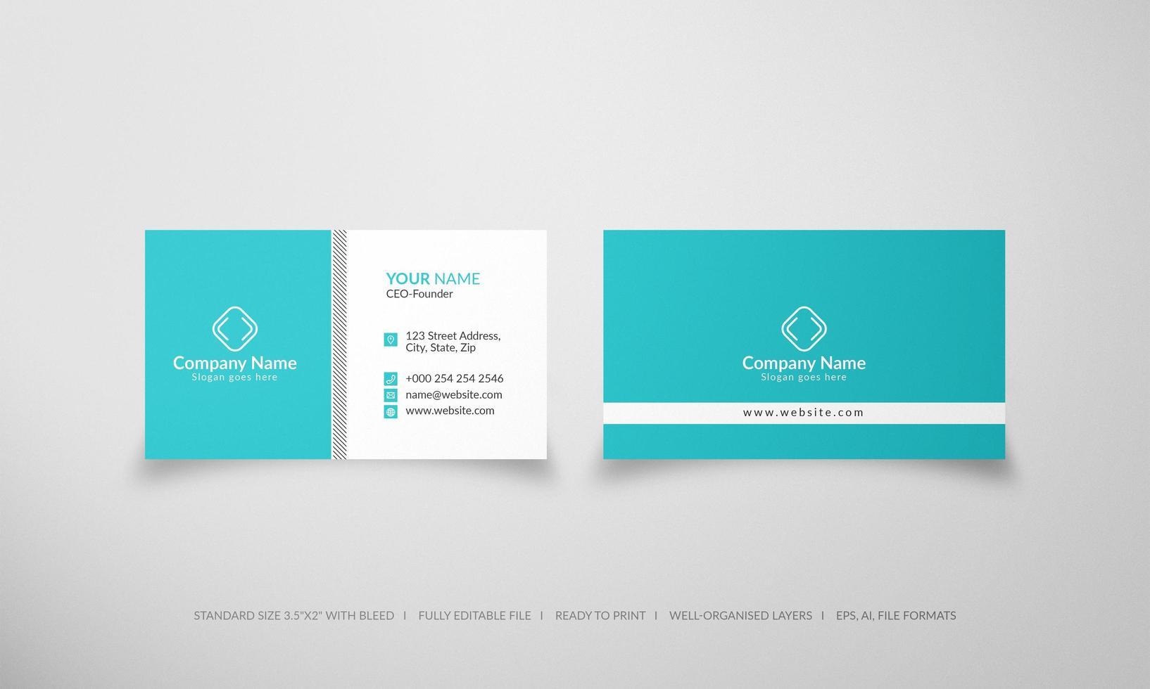 plantilla de tarjeta de visita creativa y limpia azul moderna vector