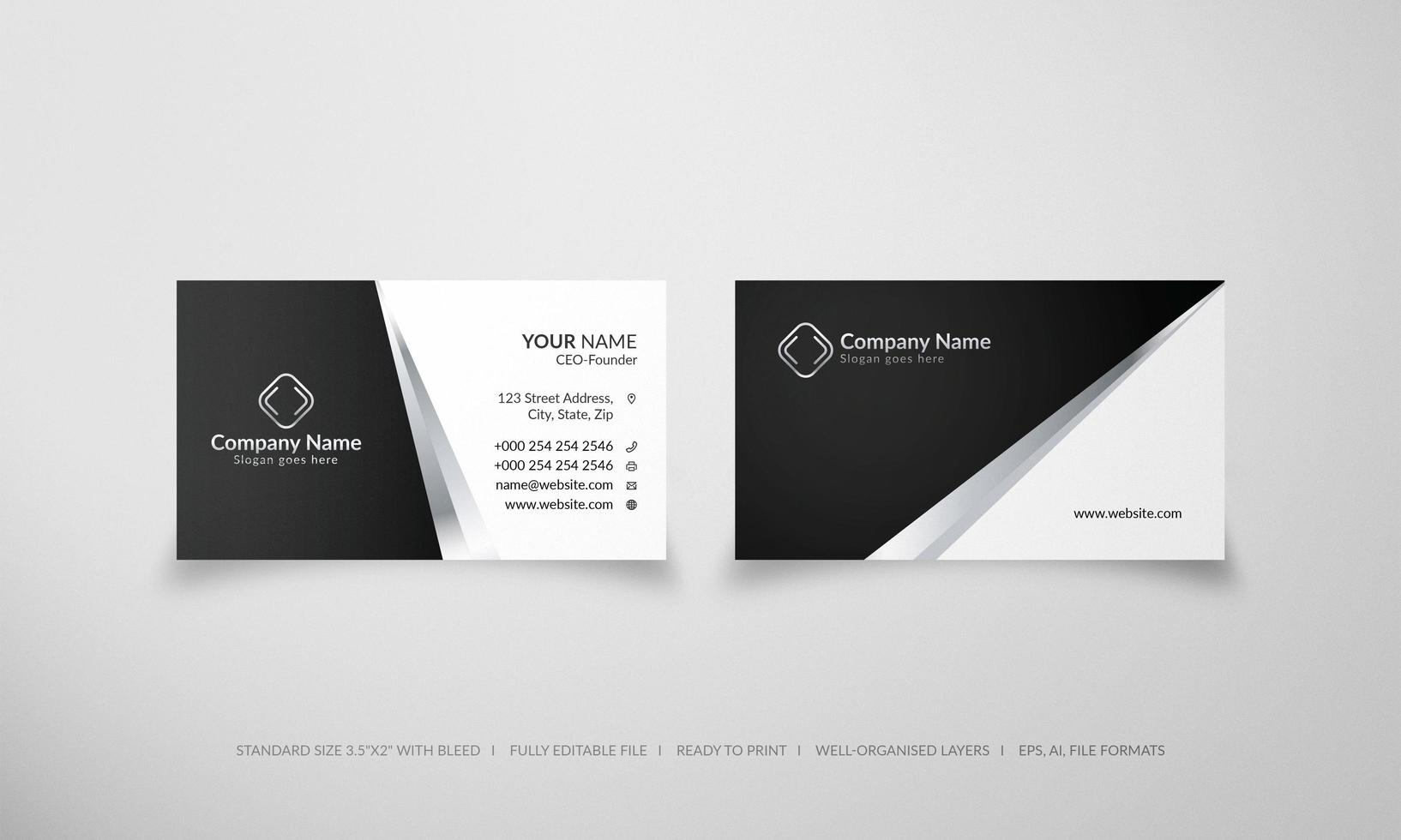 Silver and black business card template vector