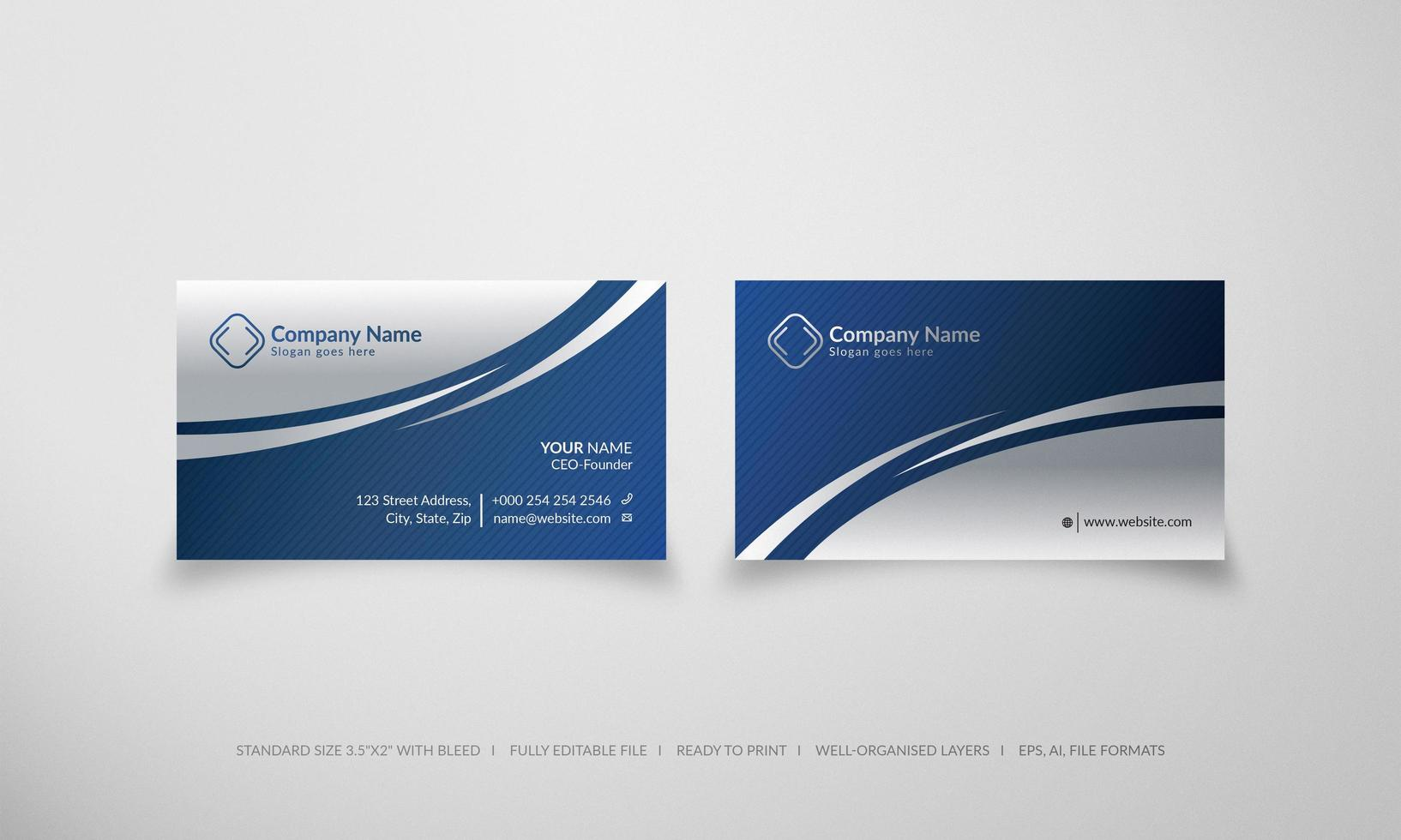 Blue and silver abstract creative business card vector