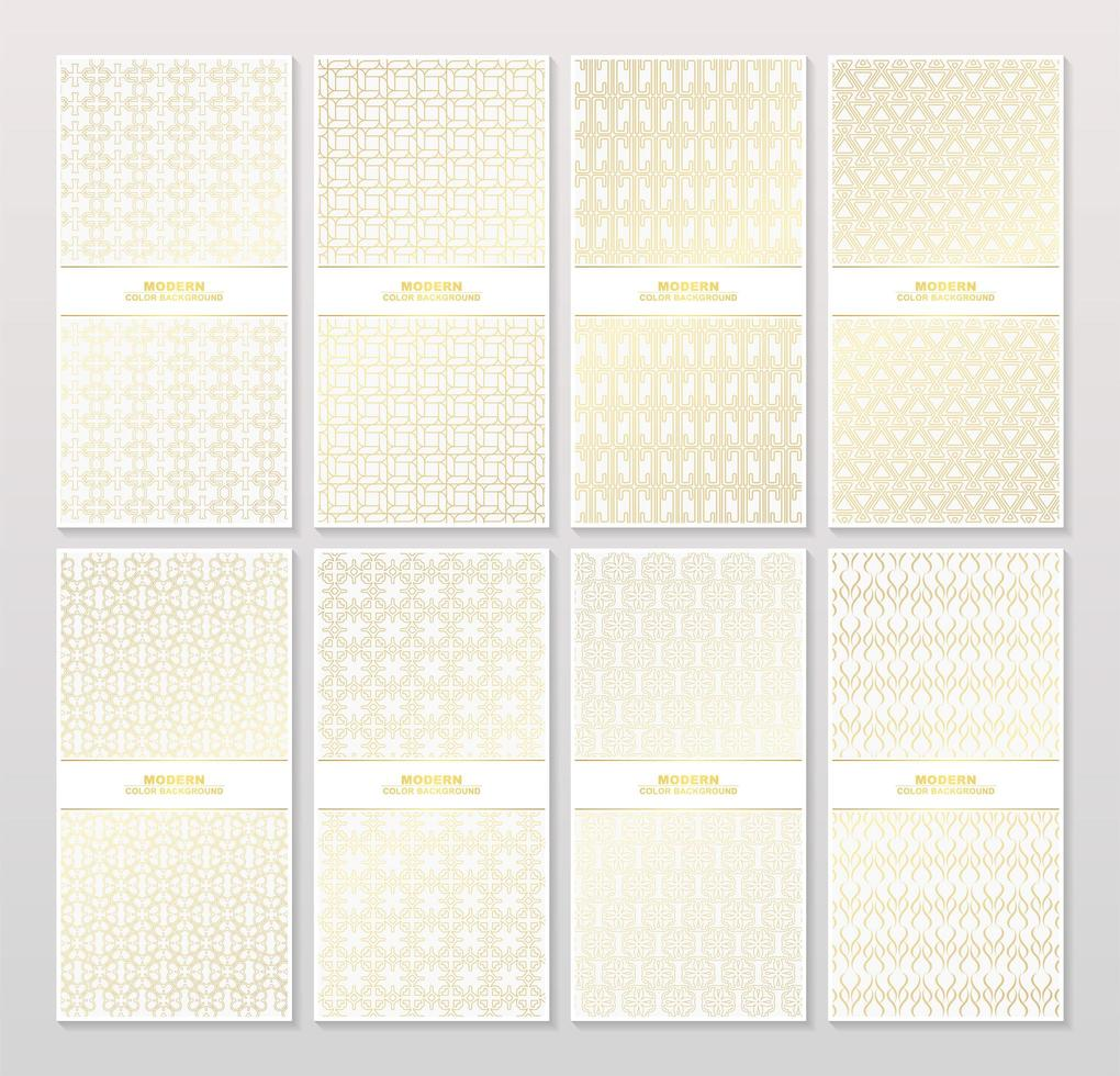 Abstract gold color patterned banner set vector