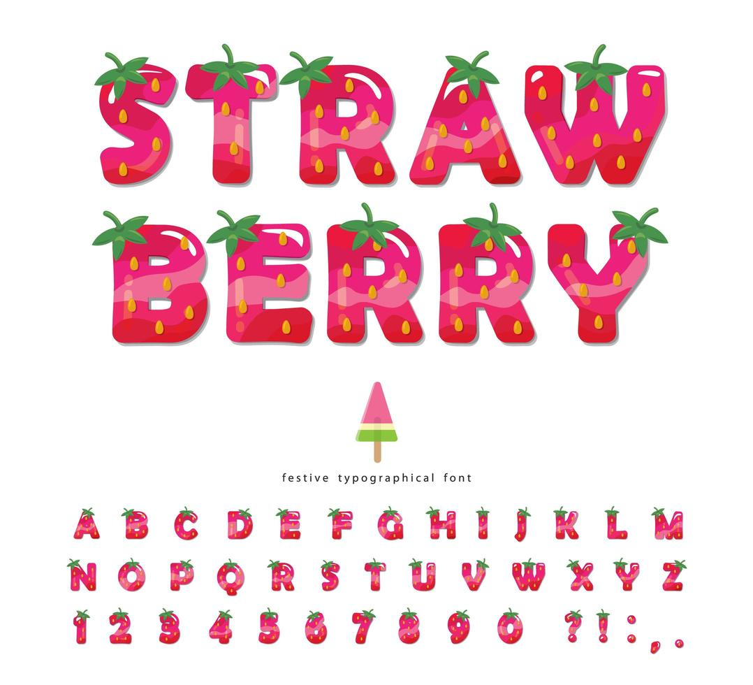 Strawberry summer font vector
