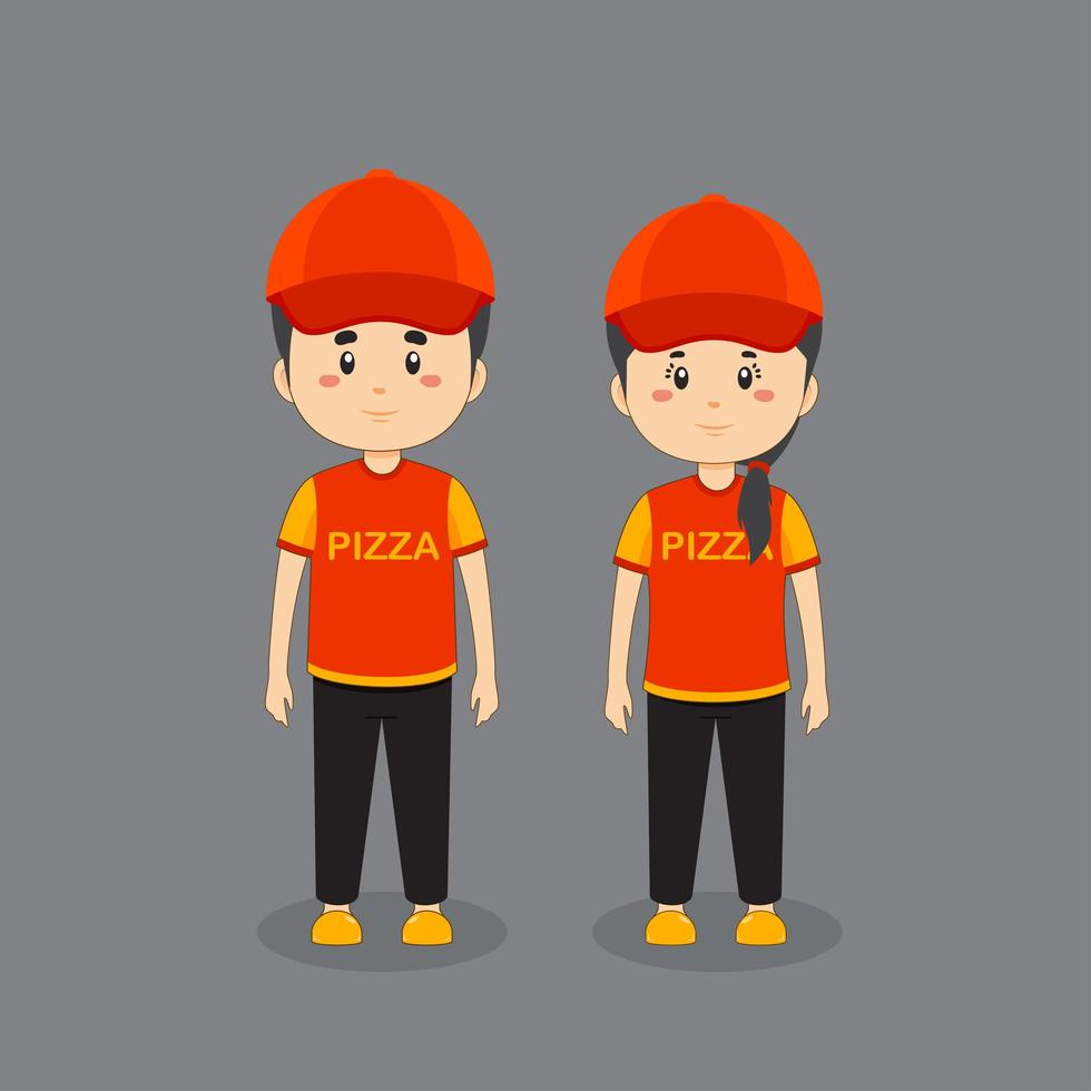 Couple Character Wearing A Pizza Uniform vector