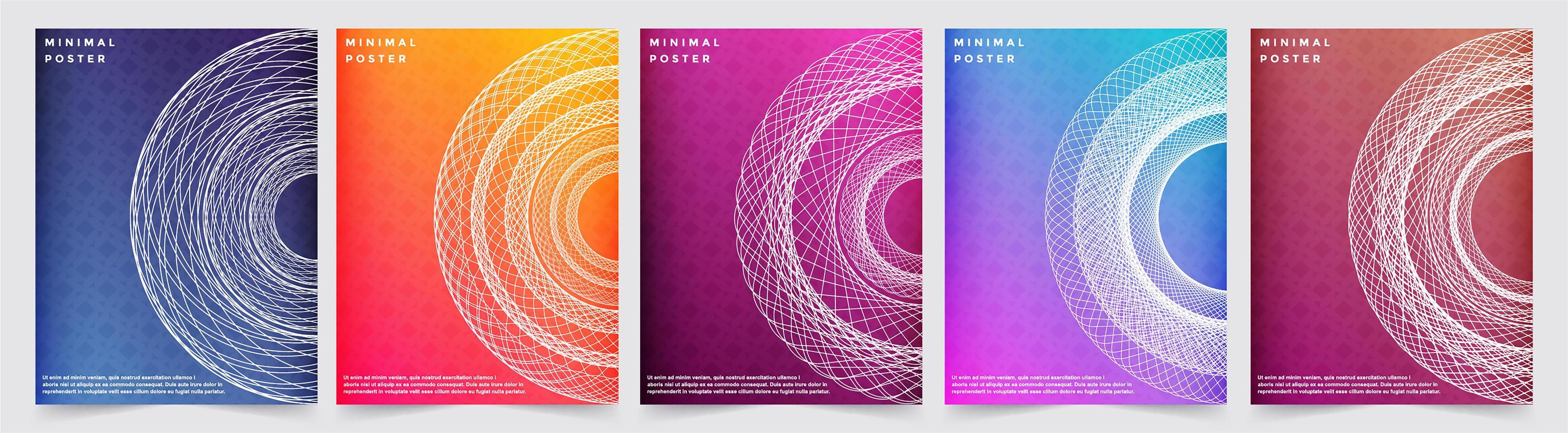 diseños de patrones de cubiertas mínimas coloridas abstractas vector