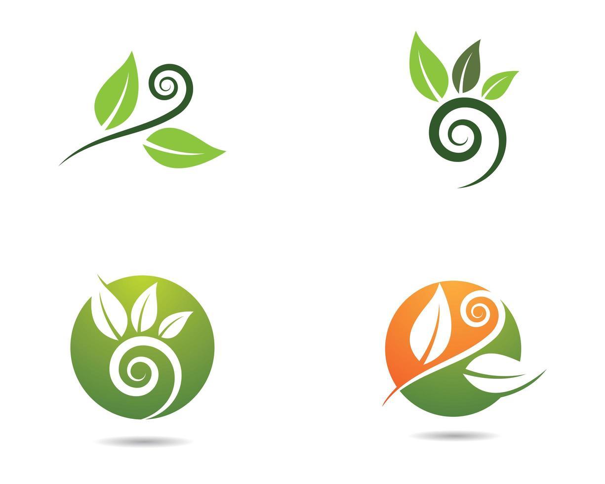 logotipos ecológicos de hojas verdes y naranjas vector