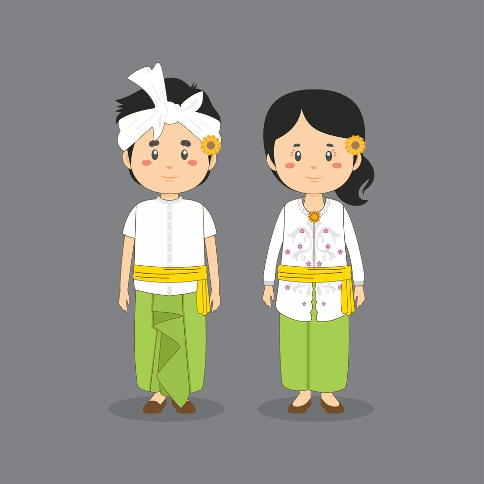 Couple Character Wearing Bali Traditional Dress vector