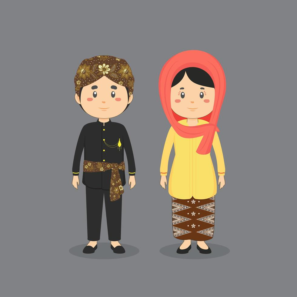 Couple Character Wearing Betawi Jakarta Traditional Dress vector