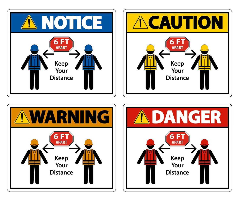Social Distancing Construction Sign vector