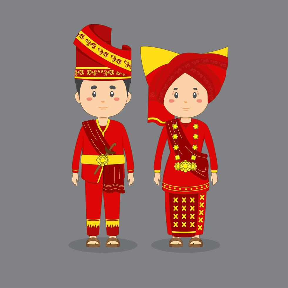 Couple Character Wearing West Sumatra Traditional Dress vector