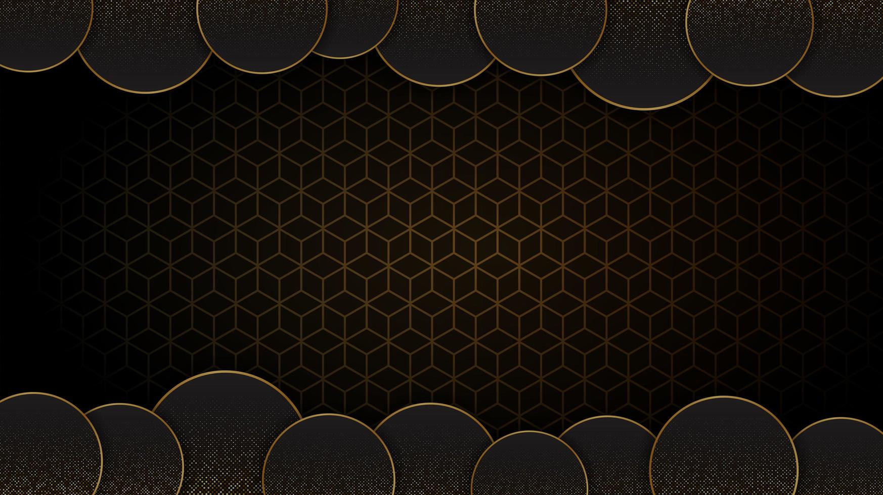 Black and Gold circular abstract background vector