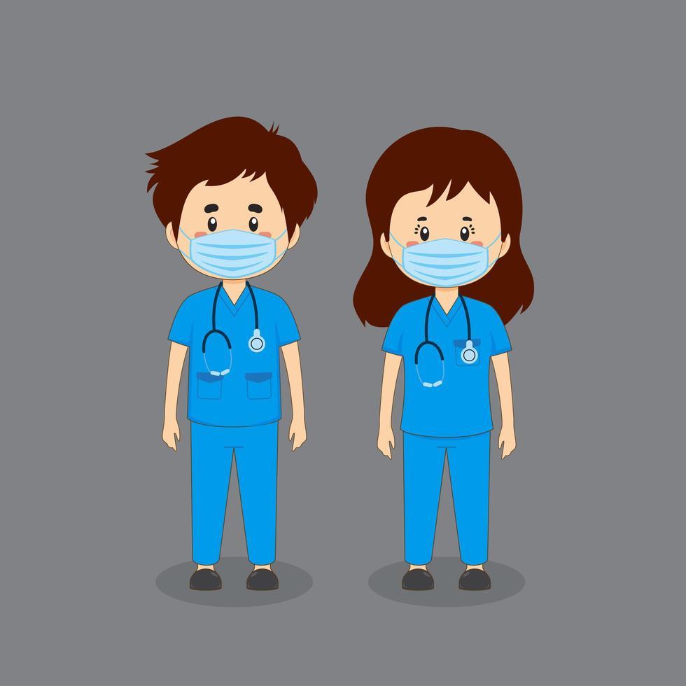 pareja de enfermeras en uniformes médicos vector