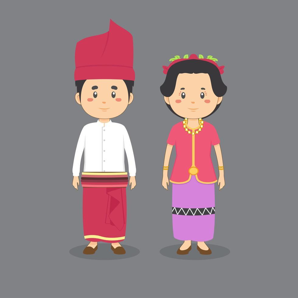 Couple Character Wearing West Nusa Tenggara Traditional Dress vector