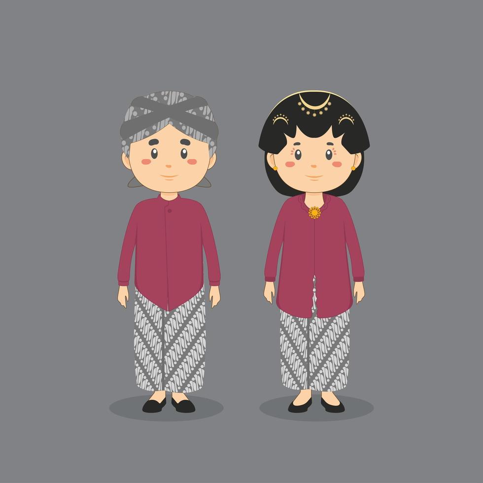Couple Character Wearing Yogyakarta Traditional Wedding Dress vector