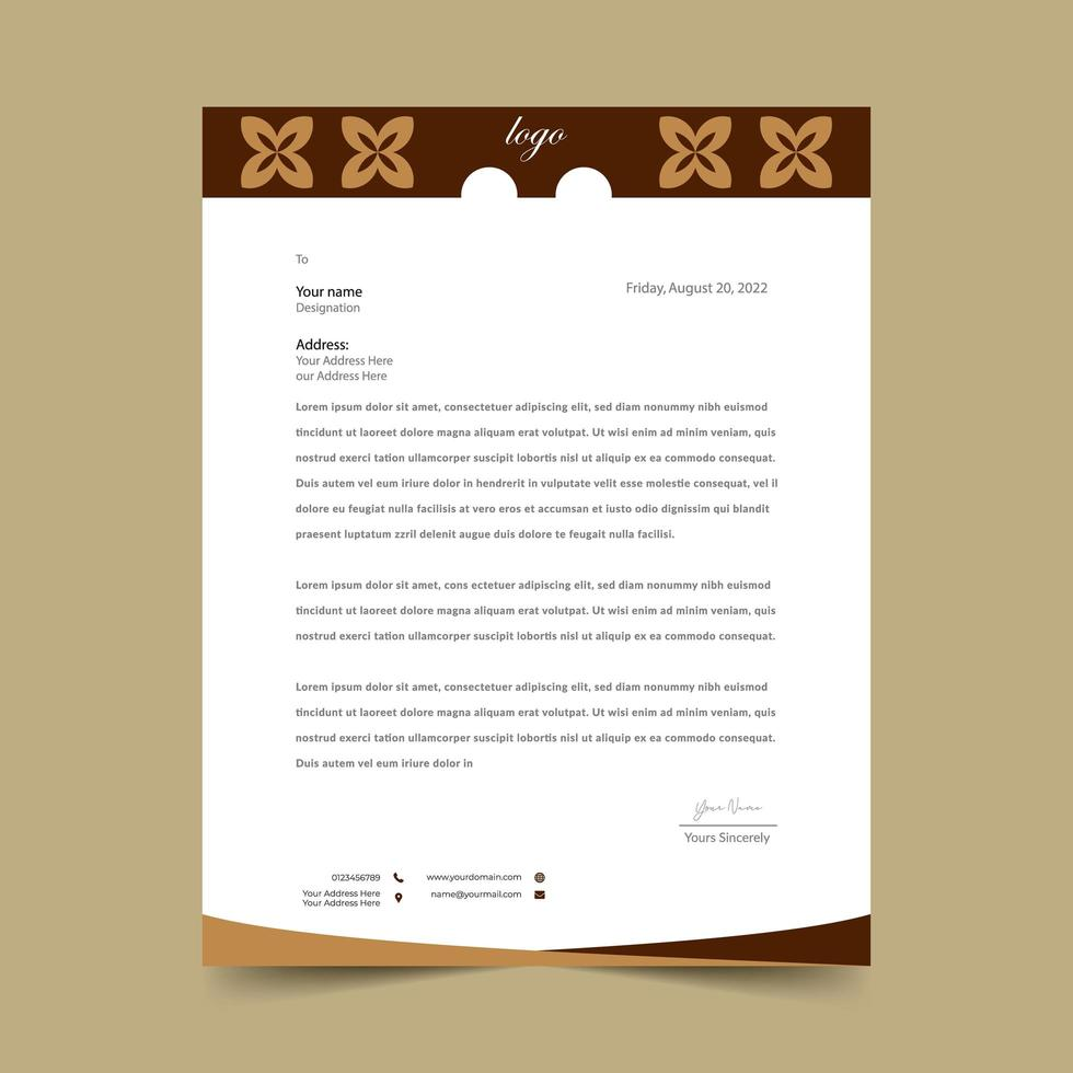 Brown Letterhead Pad  vector