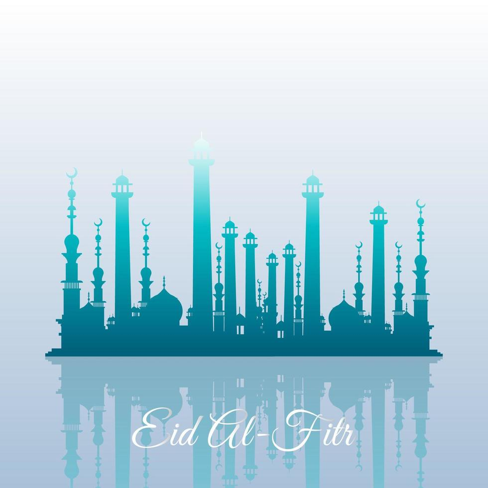 Beautiful Mosques In Reflection Style vector