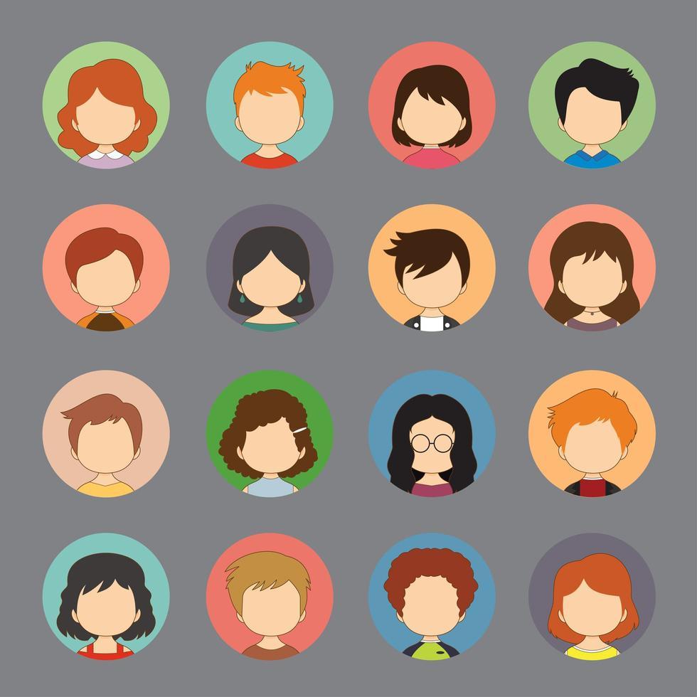 un conjunto de avatares de rostro femenino masculino vector