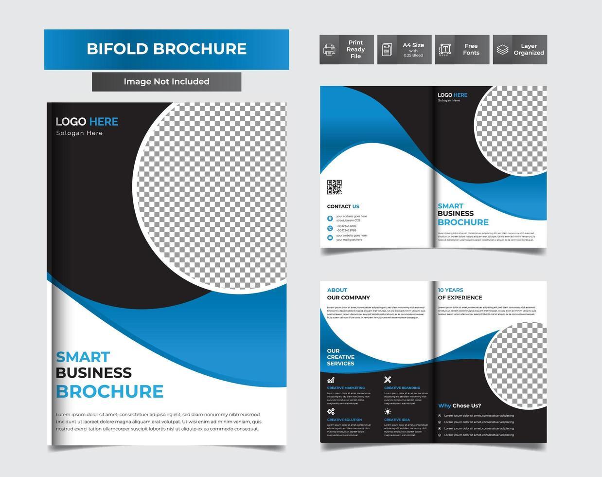 Circle Modern business bi-fold brochure vector