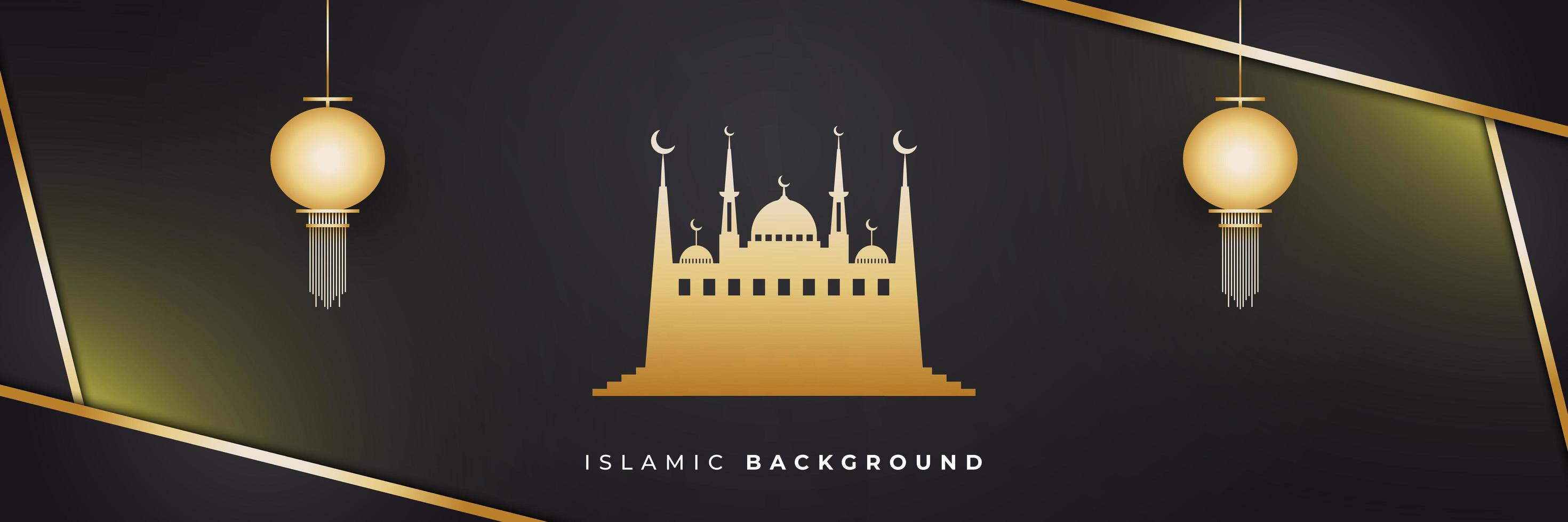 Ramadán Kareem y hermosa mezquita vector