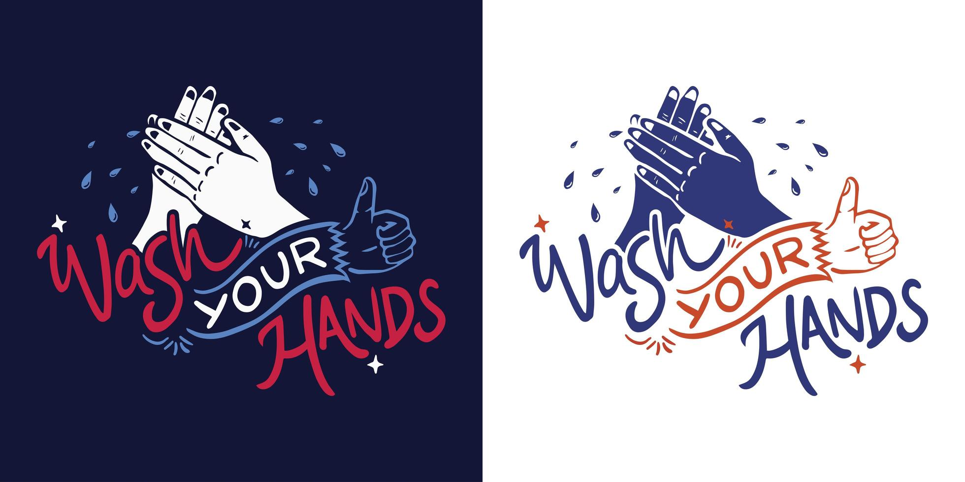 Wash your hands lettering Set vector