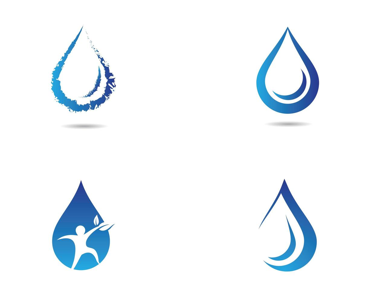 Water drop blue white icon set  vector
