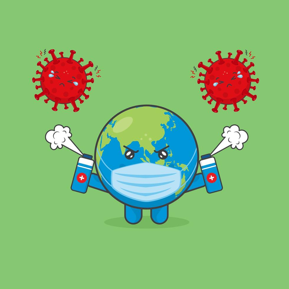 Cute Earth Characters Fight Against Viruses vector