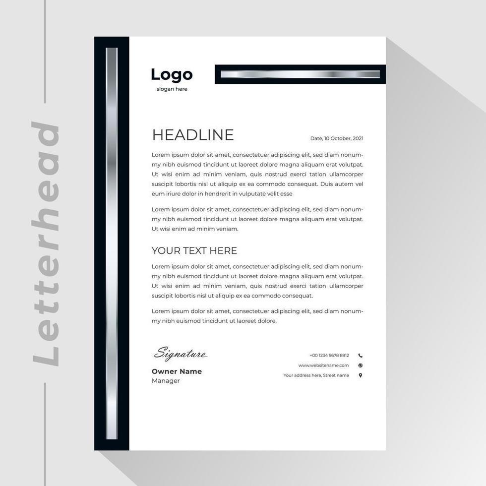 Silver, Black Business Letterhead Template vector