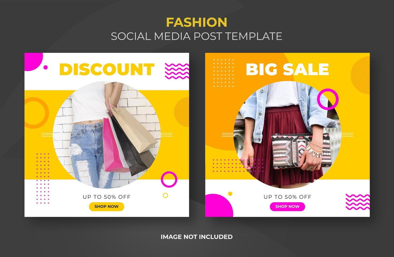 Bright social banner template set with photo frame  vector