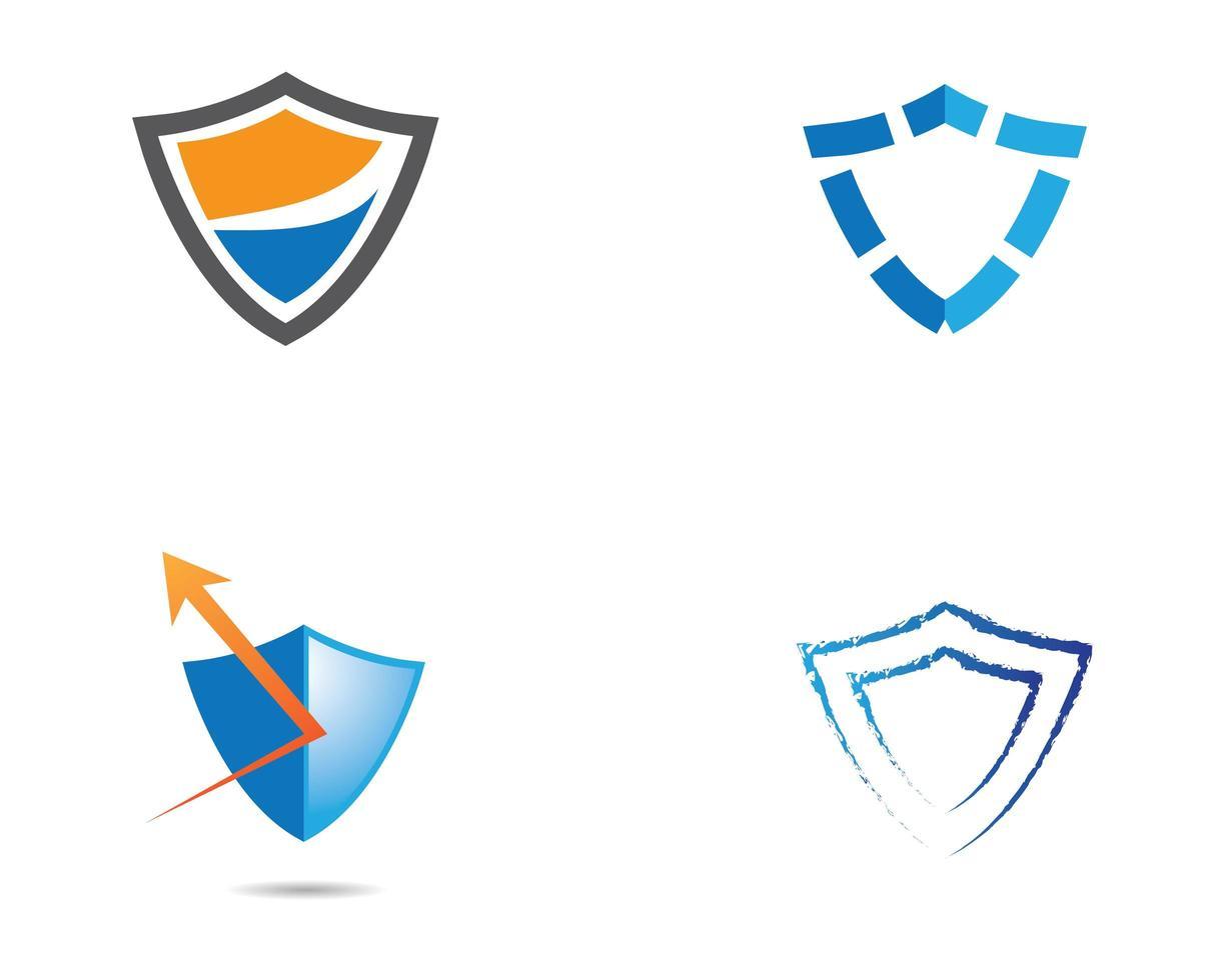 Orange, Blue, Grey Shield Logos vector