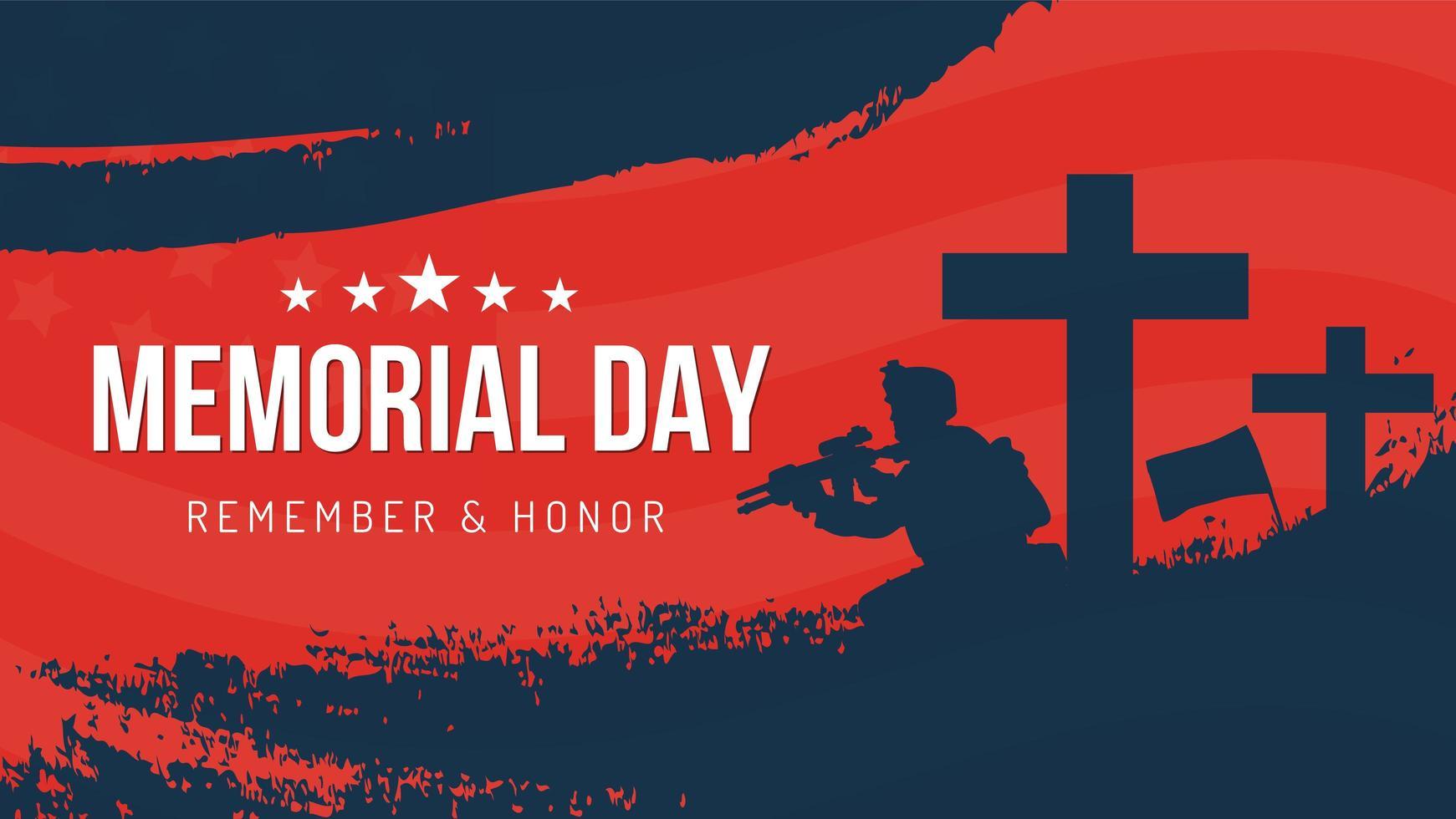 Memorial Day Soldier recordar y honrar el diseño del cartel vector