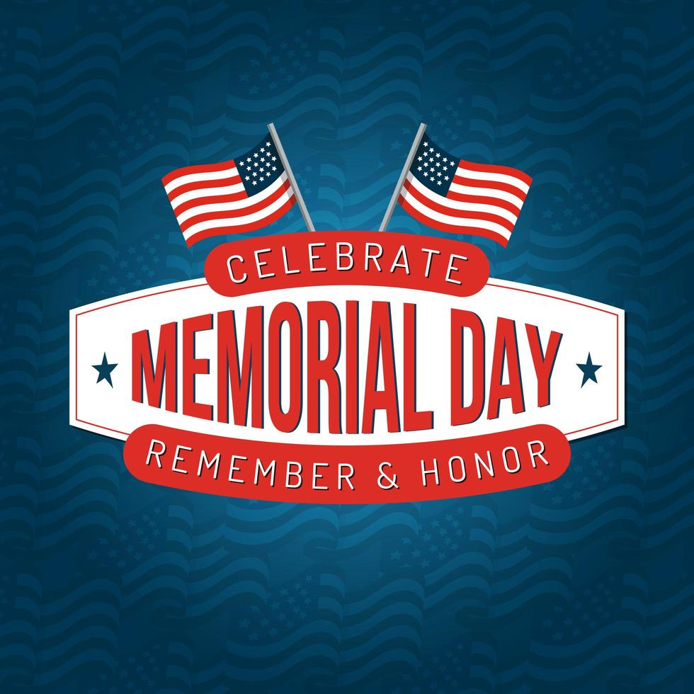 Memorial day square poster design with american flags vector