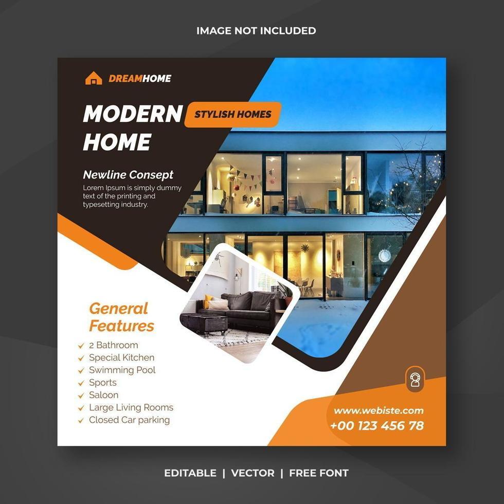 Orange and black real estate  home social banner template vector