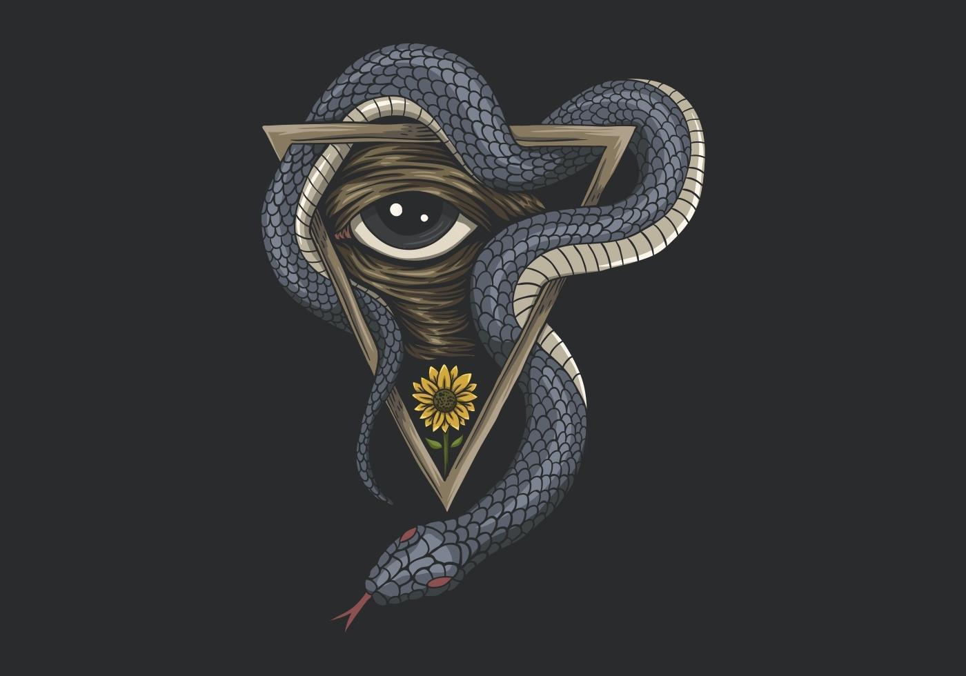 Snake one eye vector