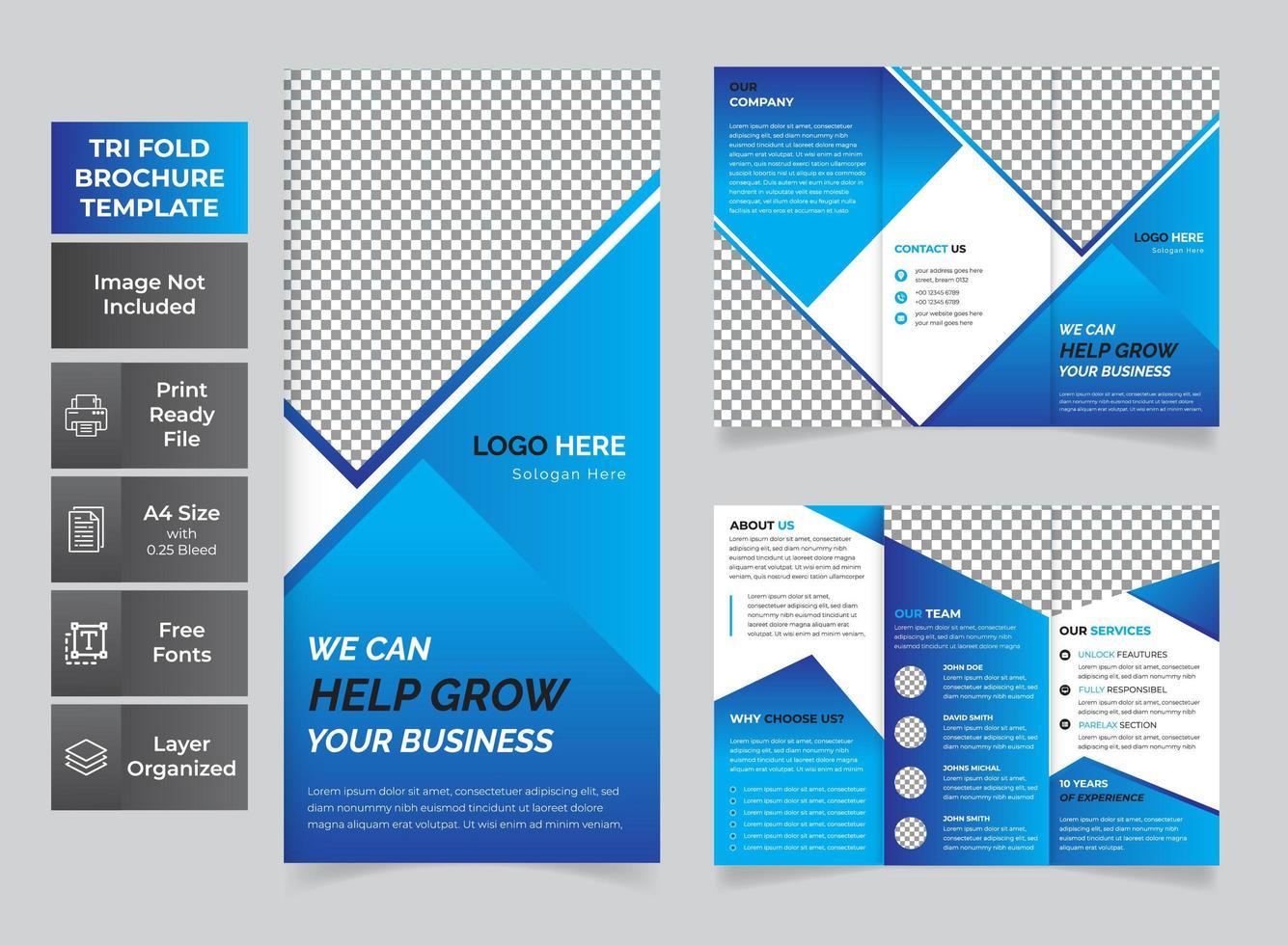 folleto tríptico de negocios moderno azul vector