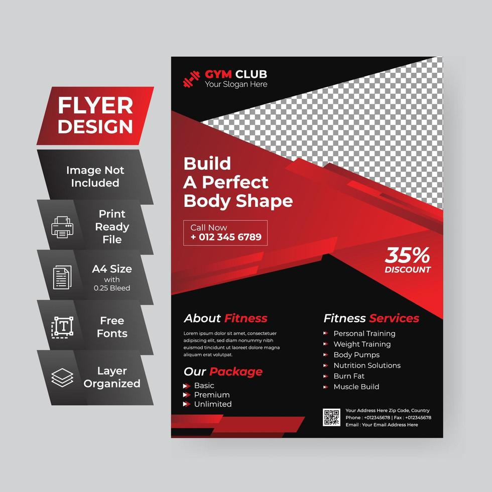 Fitness Flyer Cover vector