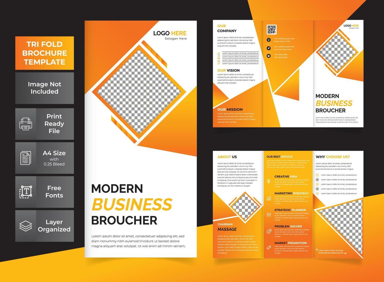 folleto tríptico naranja vector