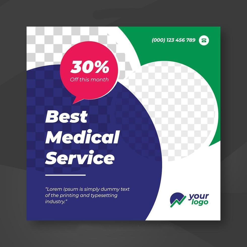 Best medical social banner template vector