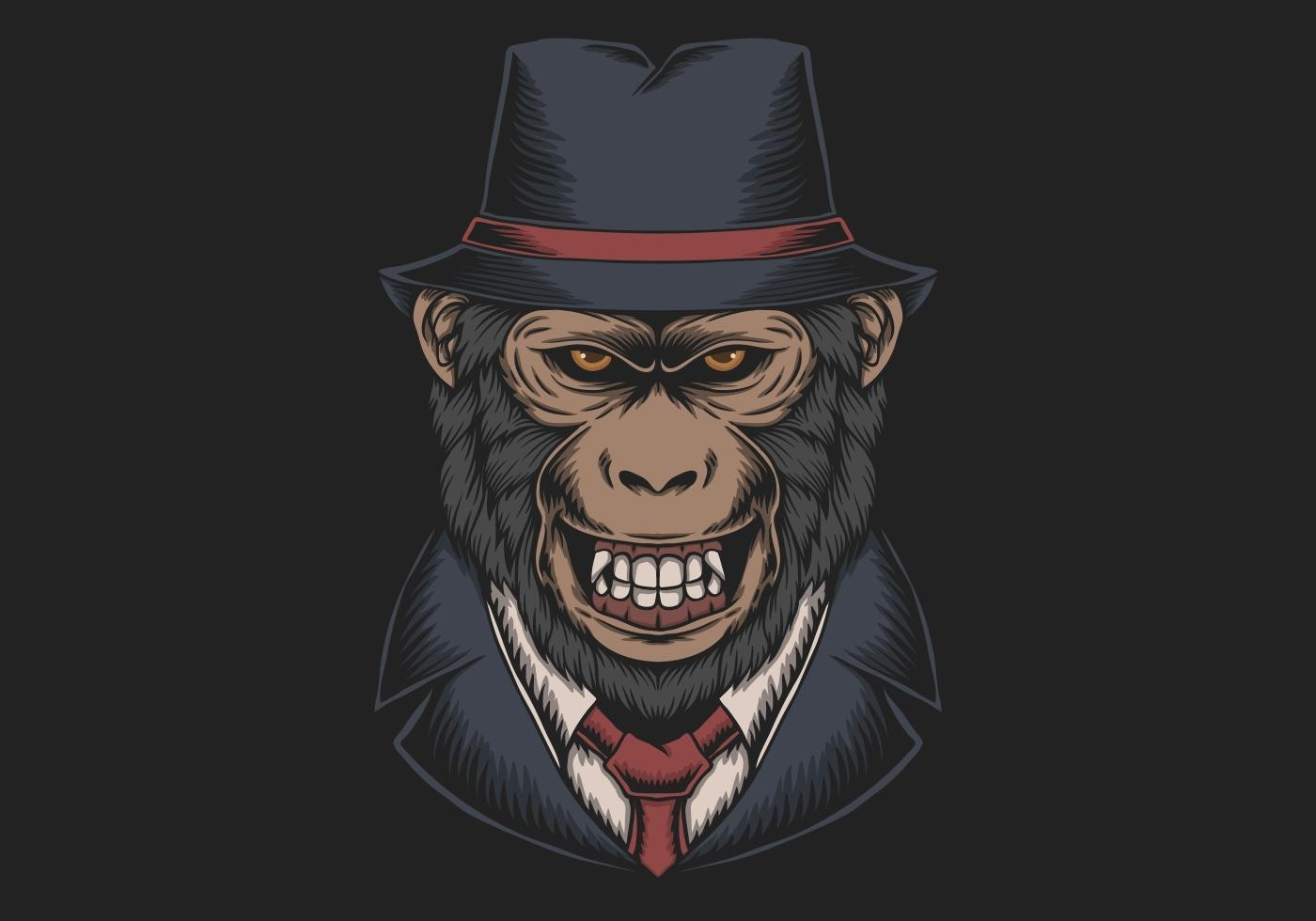 Mafia Monkey Top Hat vector