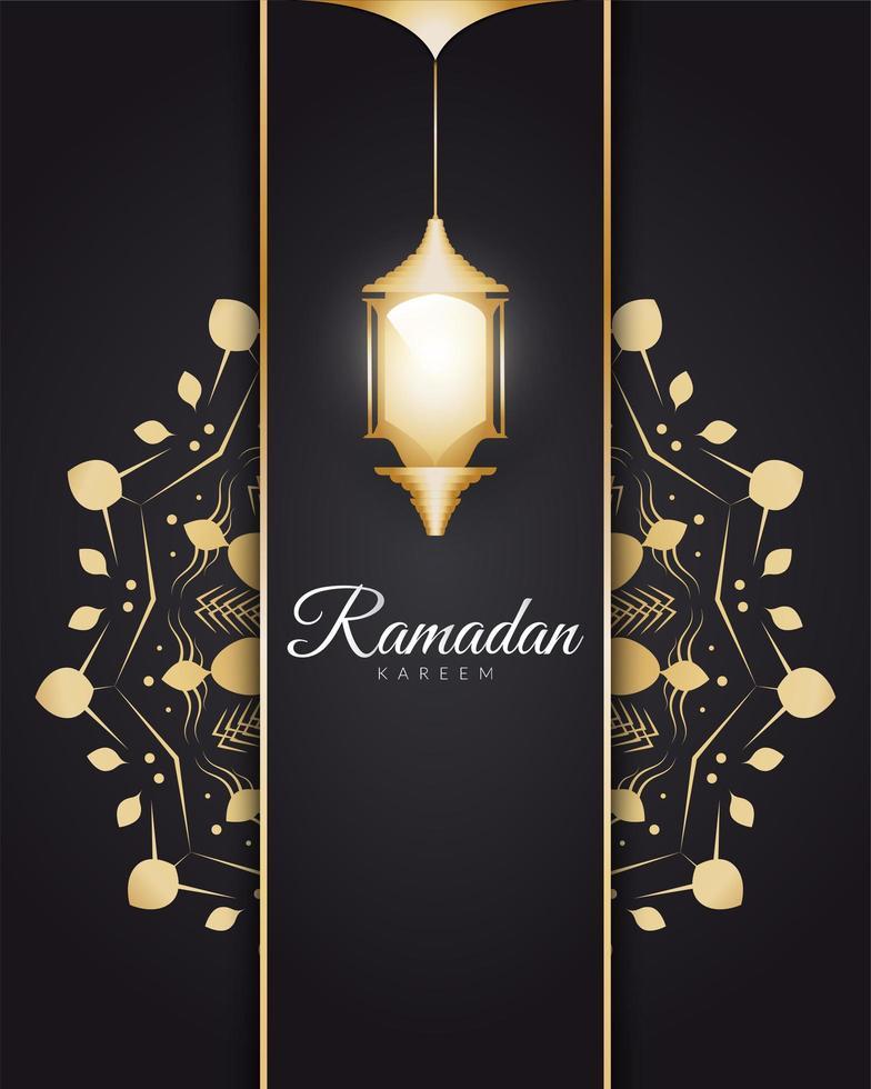 Ramadan Kareem with Golden Arabic Lanterns  vector