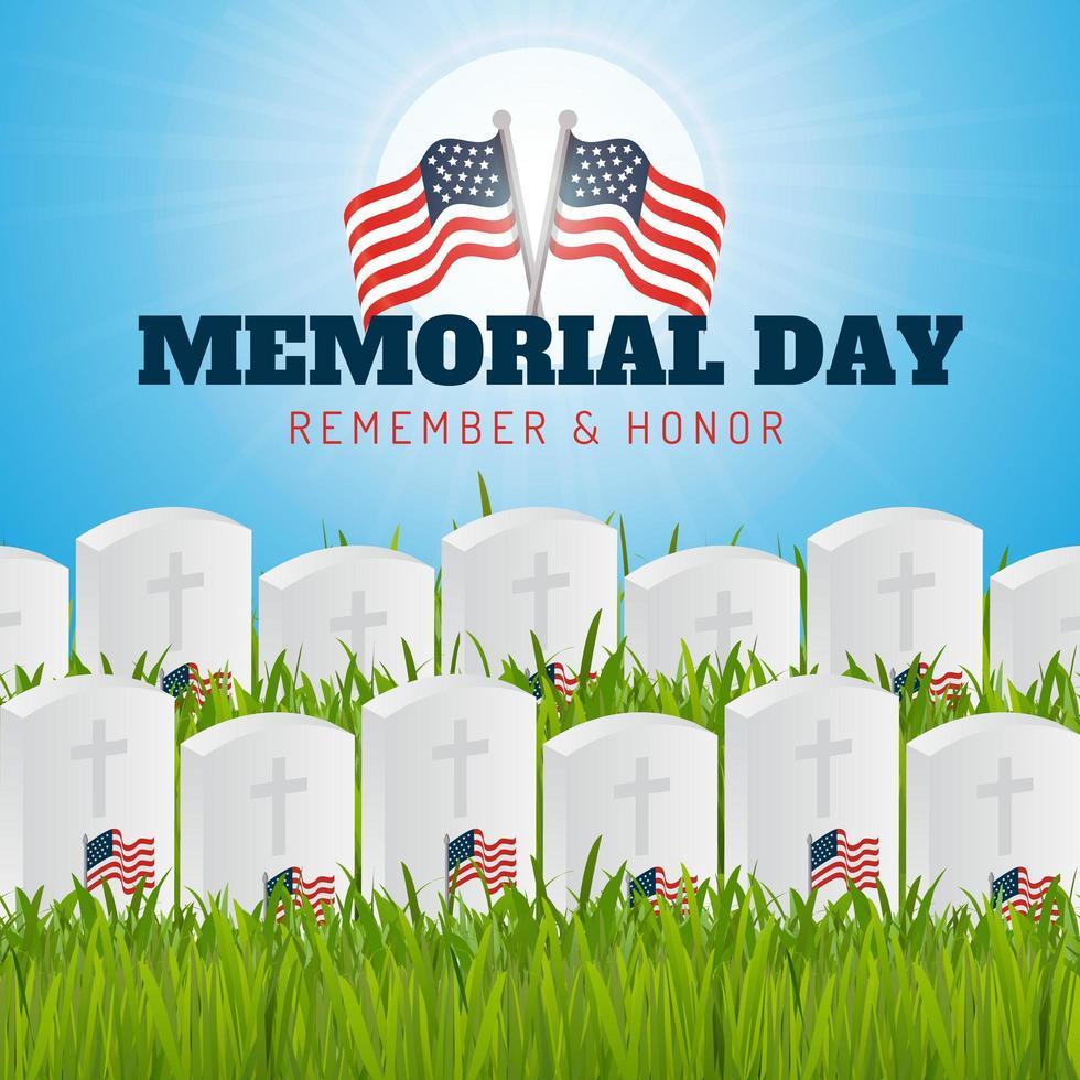 Memorial Day recordar y honrar poster vector