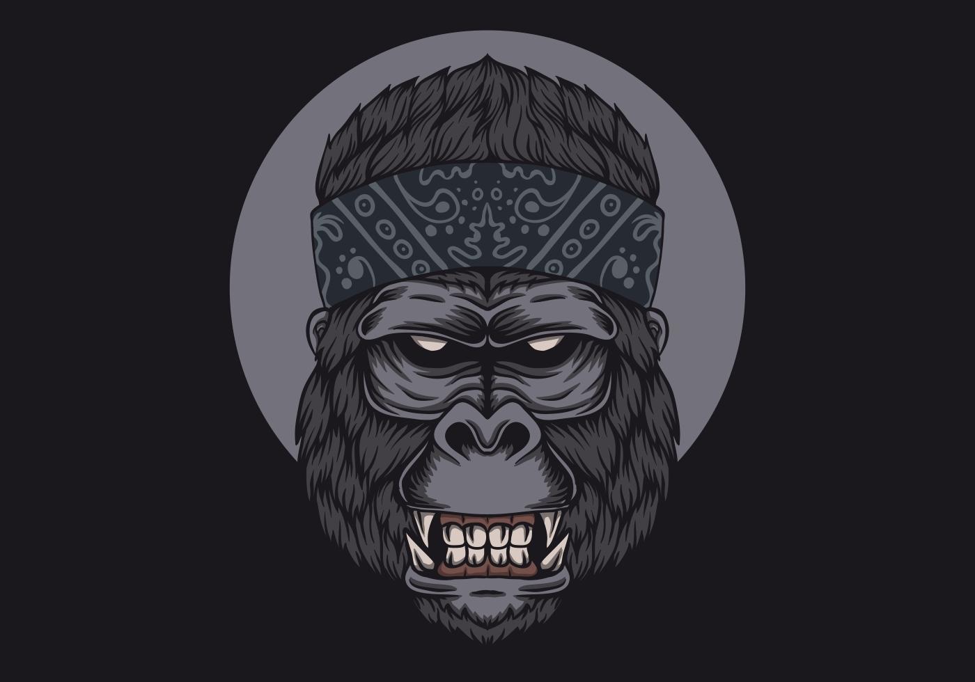 pañuelo de cabeza de gorila vector
