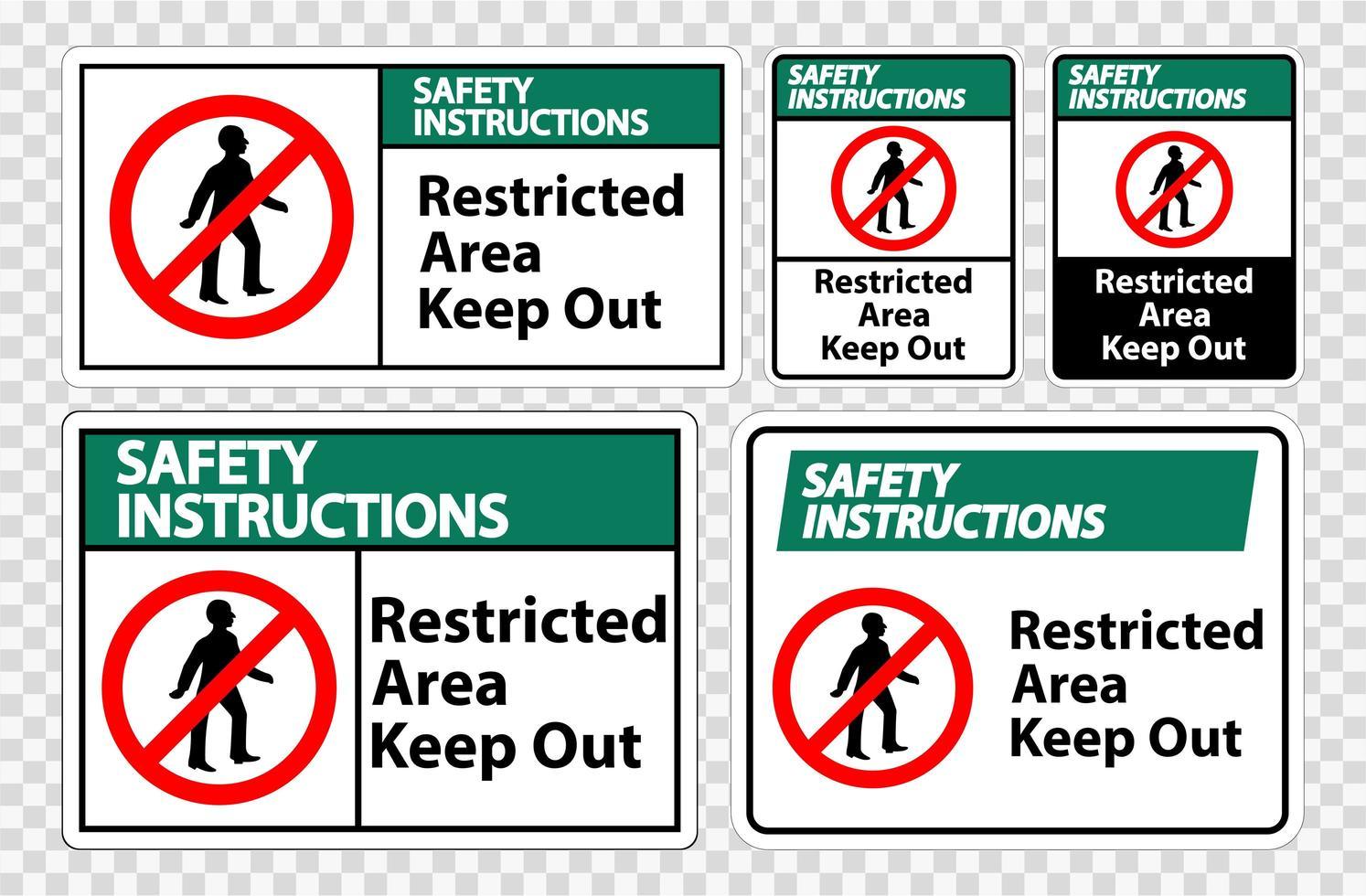 instrucciones de seguridad área restringida mantener fuera el conjunto de signos de símbolos vector