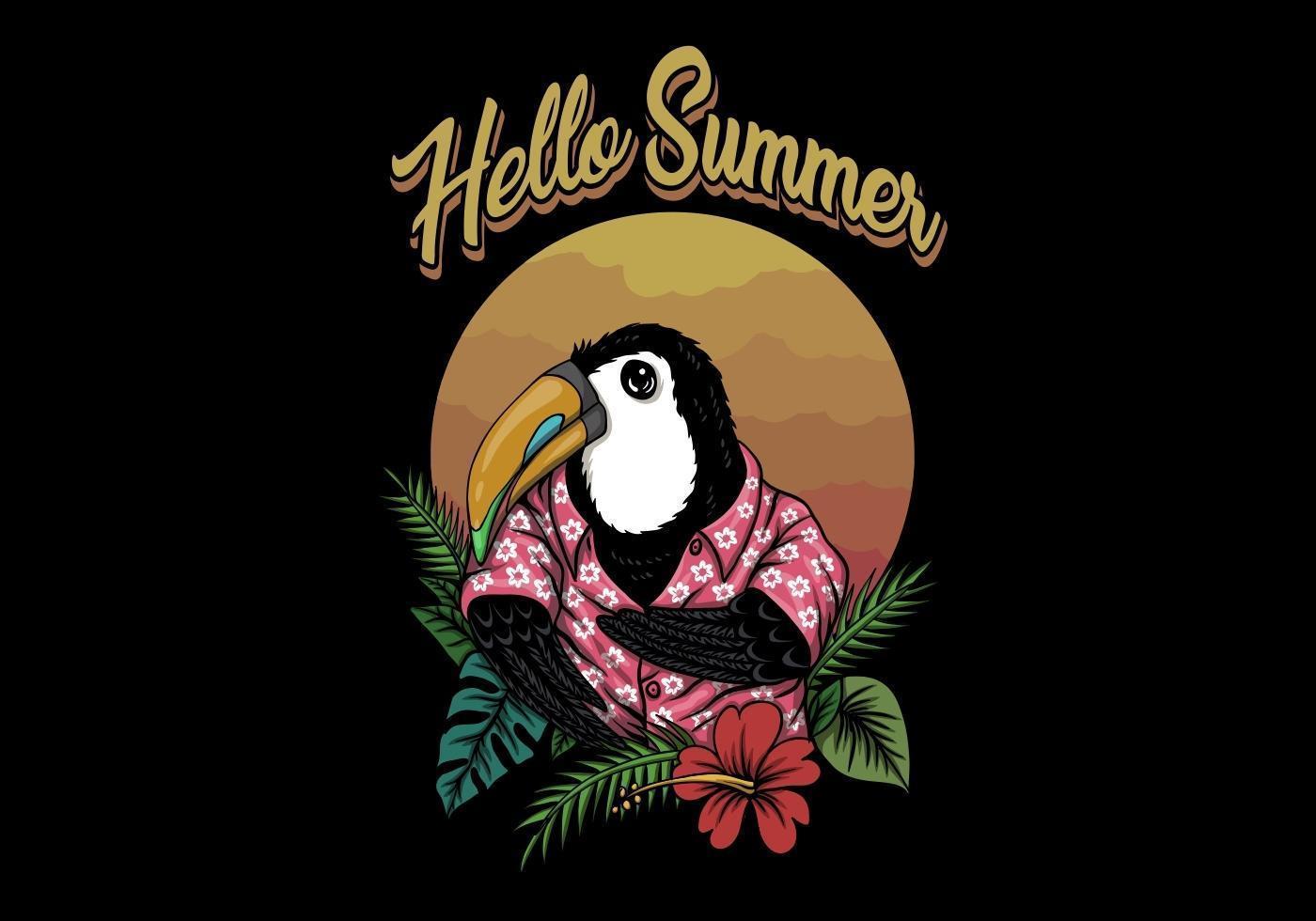 tucán pájaro hola verano vector