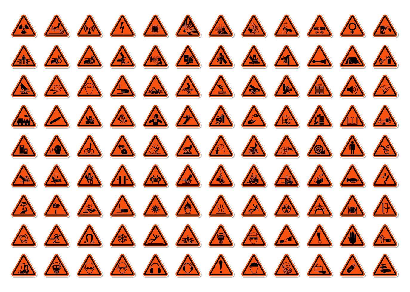 advertencia triangular símbolos de peligro etiquetas conjunto de signos vector