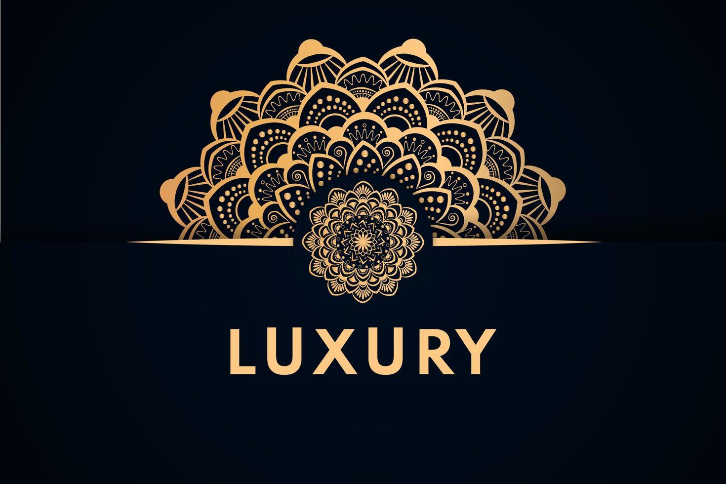 diseño de media mandala y borde dorado de lujo vector