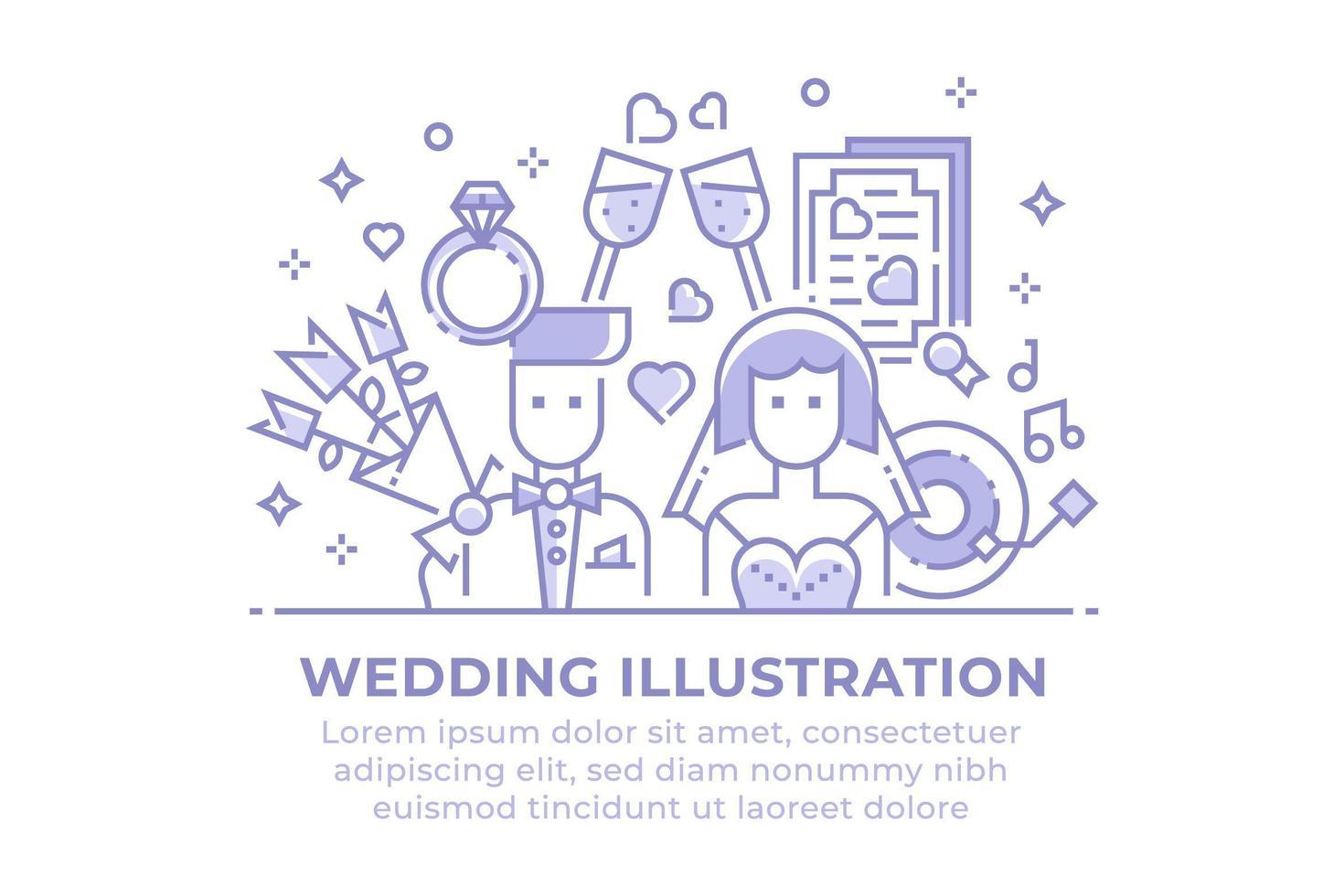 Ilustración lineal de boda vector