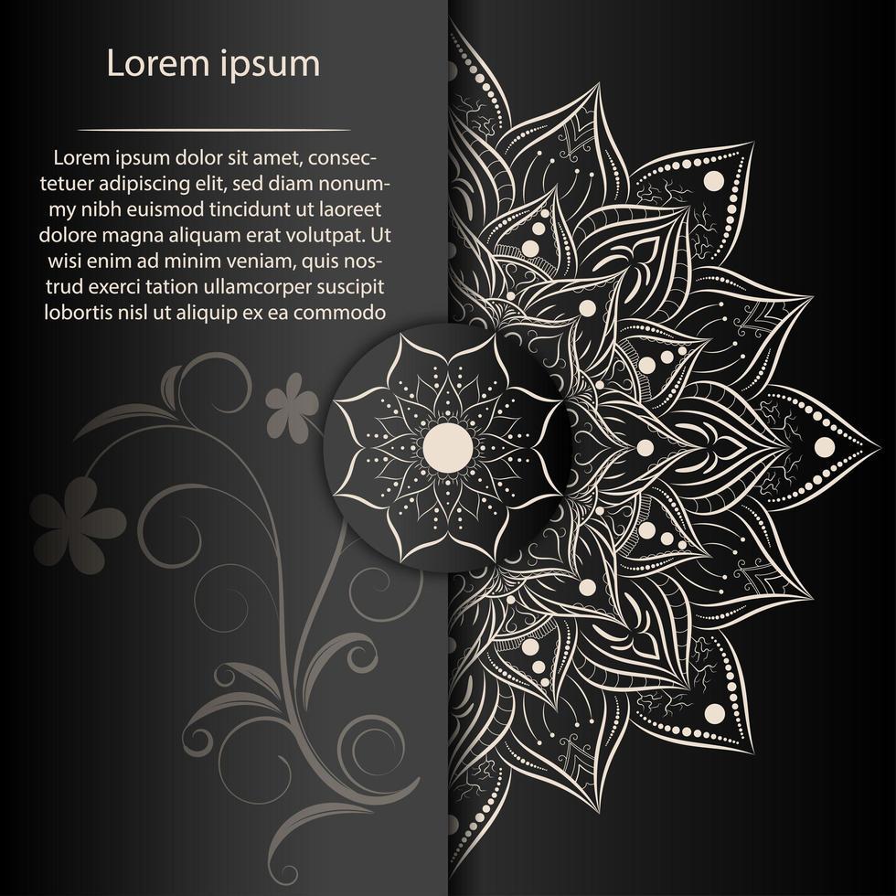medio mandala floral blanco y tarjeta ornamental vector